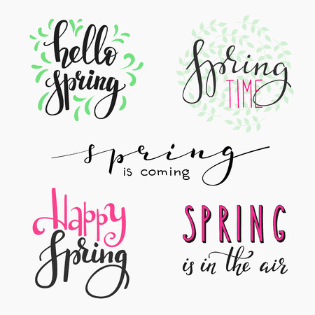 Illustration for Hello spring lettering typography set. Calligraphy spring postcard or poster graphic design lettering element. Hand written calligraphy style spring postcard. Simple vector brush calligraphy. - Royalty Free Image