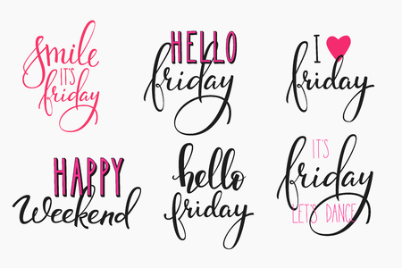 Illustration pour Hello Friday lettering sign quote postcard set. Motivational quote. Weekend inspiration typography. Calligraphy postcard poster graphic design element Hand written sign Decoration Happy weekend - image libre de droit