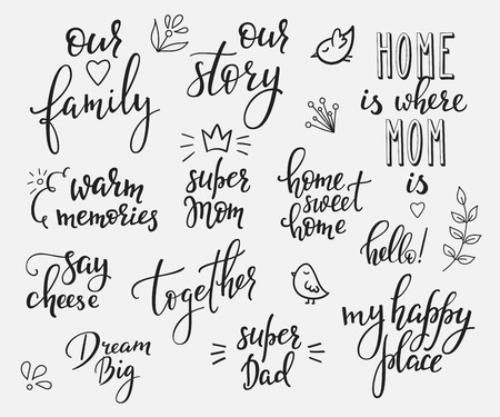 Illustration pour Lettering photography overlay set. Motivational quote. Sweet cute inspiration typography. Calligraphy photo graphic design element. Hand written sign. Love story wedding family album decoration. - image libre de droit