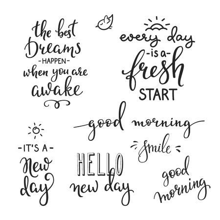 Vektor für Lettering quotes set motivation for life and happiness. Calligraphy Inspirational quote. Morning motivational quote design. For postcard poster graphic design. Every Day is a Fresh Start. Good morning - Lizenzfreies Bild