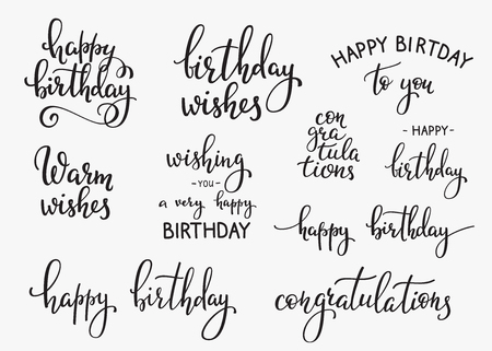 Illustration pour Happy Birthday lettering sign quote typography set. Calligraphy design for postcard poster graphic design. Simple vector brush calligraphy. Happy Birthday card design elements. Birthday party decor. - image libre de droit