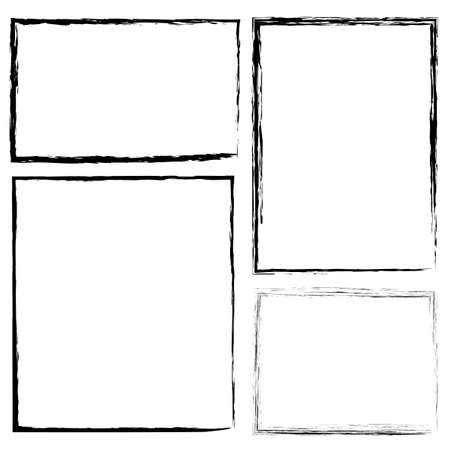 Illustration pour Hand-drawn brush border. Flat rectangle frame in grunge style. Pencil drawing. Stock photo. - image libre de droit