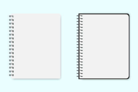 Illustration pour Blank sheet of notepad or notebook. Vector layout of two pages of paper. School paper template for notes. Stock Photo. - image libre de droit