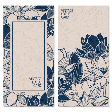 Ilustración de set with two vector blue vintage cards with hand drawn lotus flowers and place for text - Imagen libre de derechos