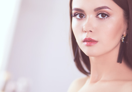 Photo for Beauty portrait of female face with natural skin - Royalty Free Image