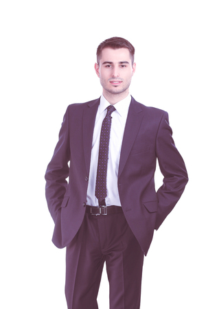 Photo pour Portrait of young man isolated on white background - image libre de droit