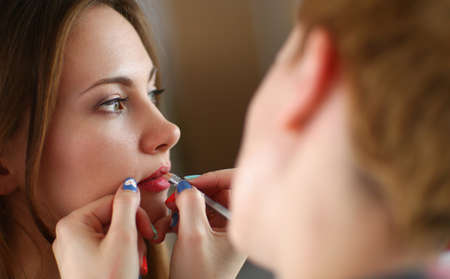 Photo for Artist doing professional make up of woman - Royalty Free Image