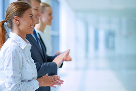 Photo pour Business people clapping their hands - congratulation and appreciation concepts. - image libre de droit