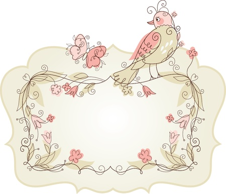 Photo for Vector Bird and frame for your text - Royalty Free Image
