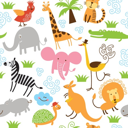 Photo for seamless pattern with cute animals - Royalty Free Image