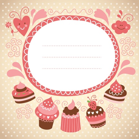 card with sweet cakes