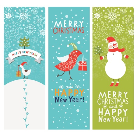 Set of Christmas and New Year s vertical banners