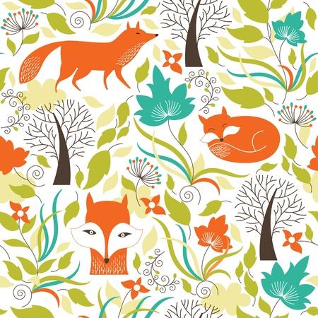 Foto de Seamless pattern with a foxes - Imagen libre de derechos