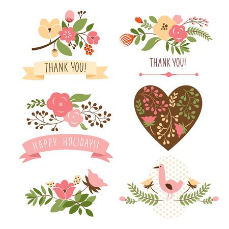 Illustration pour floral bouquets and heart - image libre de droit