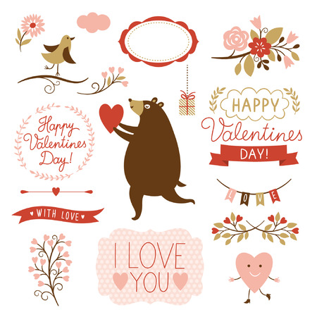 Valentine s day graphic elements, vector collection