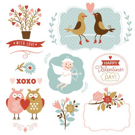 Ilustración de Valentine s day graphic elements, vector collection - Imagen libre de derechos