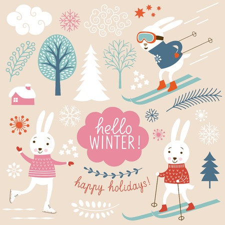 Cute rabbits and winter grachic elements