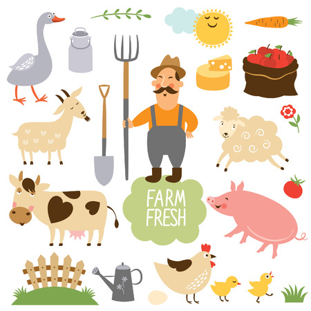 Photo for set of vector illustration of farm animals and related items - Royalty Free Image
