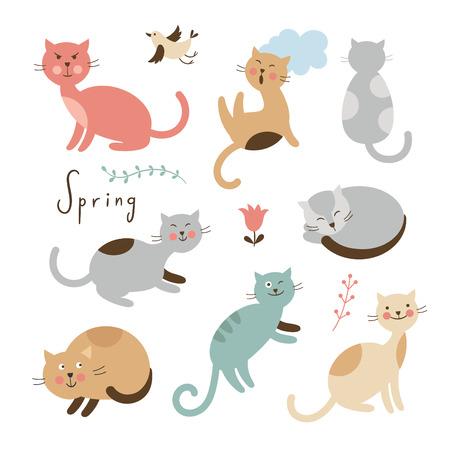 Illustration pour Set of cute cats. Cartoon cats in various poses - image libre de droit