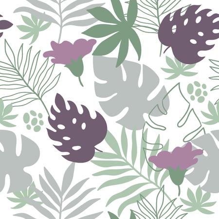 Illustration pour tropical leaves seamless pattern - image libre de droit