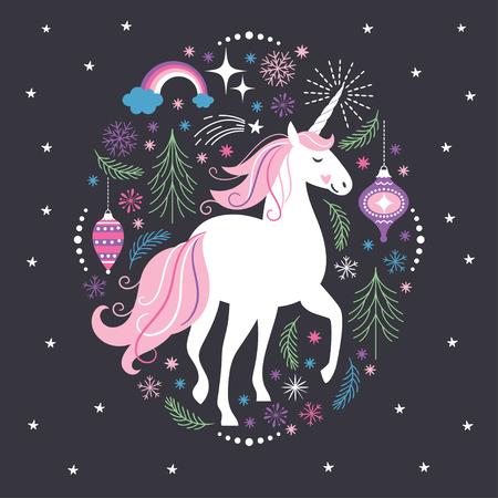 Illustration for Christmas card White Unicorn - Royalty Free Image