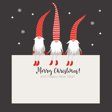 Ilustración de Christmas Card, Seasons greetings, cute Christmas gnomes in red striped hats - Imagen libre de derechos