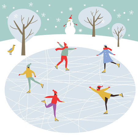Illustration pour Vector drawing of people skating, Merry Christmas or Happy New Year's illustration. - image libre de droit