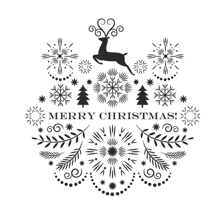 Merry christmas greeting card, vector illustration, black and white image