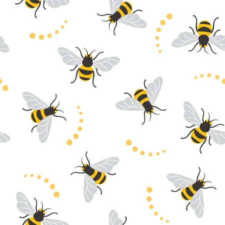 Seamless pattern with bees. Bee illustration