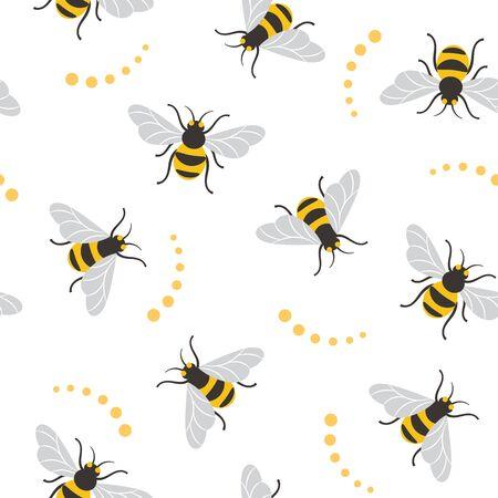 Ilustración de Seamless pattern with bees. Bee illustration - Imagen libre de derechos
