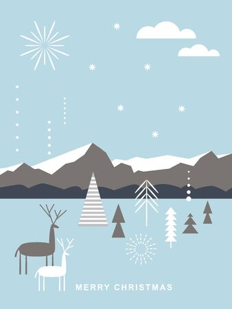 Illustration for Christmas card . Stylized Christmas deers, mountains, snowflakes, Christmas trees, simple minimalistic scandinavian style - Royalty Free Image