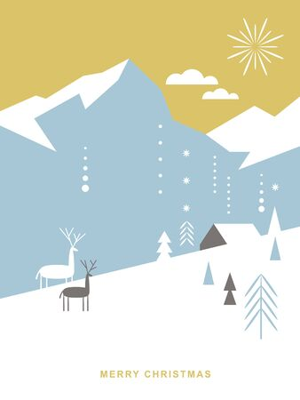 Illustration for Christmas card . Stylized Christmas deers, mountains, chalet, snowflakes, Christmas trees, simple minimalistic scandinavian style - Royalty Free Image