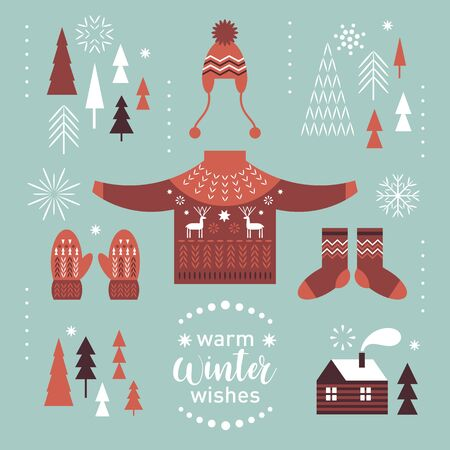 Illustration for Winter graphic design elements set. Knitted sweater with deers, socks and mittens. Cozy little house. Warm Christmas wishes . - Royalty Free Image