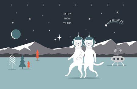 Illustration pour Couple of cats on another planet. Cosmic landscape.Poster, greeting card, horizontal banner design - image libre de droit