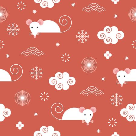 Illustration pour Seamless new year's pattern, cute mouses - image libre de droit