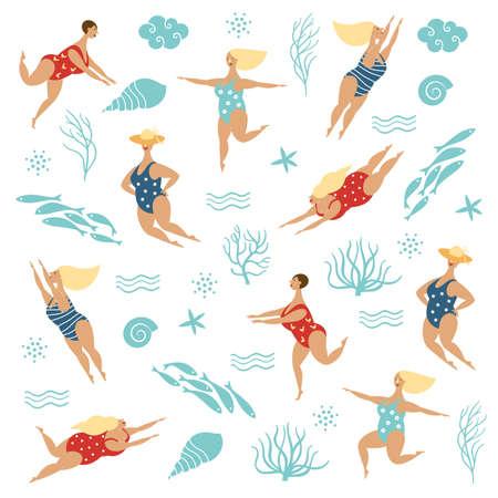 Illustration for Five funny cute plump women in swimsuits, Vector illustration on white background - Royalty Free Image