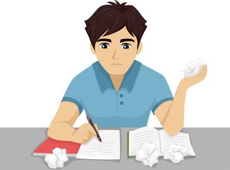 Illustration pour Illustration of a Male Teenager Having Trouble with His Homework - image libre de droit