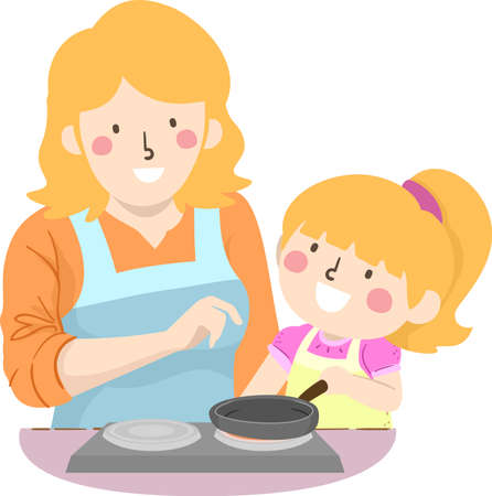 Illustration for Illustration of a Kid Girl Cooking with Mother Teacher Her How to Use the Stove - Royalty Free Image