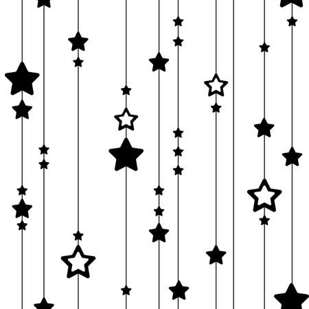 Illustration pour Seamless pattern of lines and stars. Black and white vertical festive texture for textile, for fabric, for paper. Cute magic print with black stars hanging on lines, on stripes. New Year, Christmas. - image libre de droit