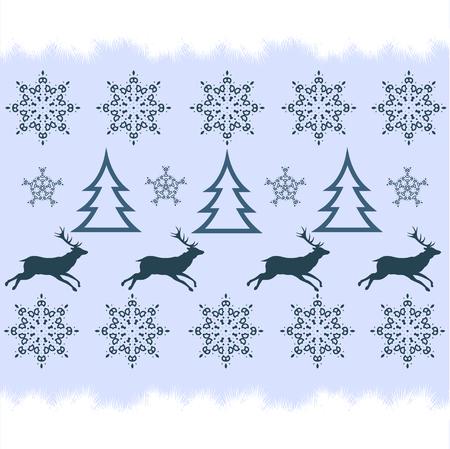 handicraft  winter sweater design - deer, snowflake and christmas tree