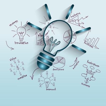 Illustration pour The idea of economic management, illustration with lamp for business - image libre de droit