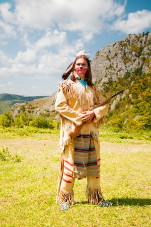 Photo for North American Indian in full dress. Reconstruction - Royalty Free Image