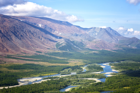 Foto per View of the Rai-Iz mountain and the Sob River in the Polar Urals on a sunny summer day, Yamal, Russia - Immagine Royalty Free