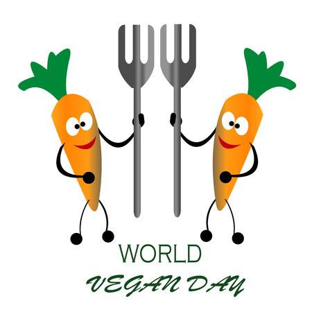 Happy vegan day carrot bring fork