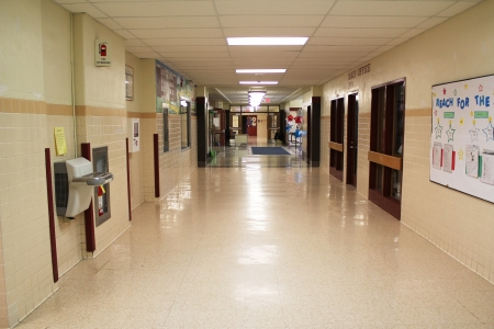 A landscape view of a typical school hallway
