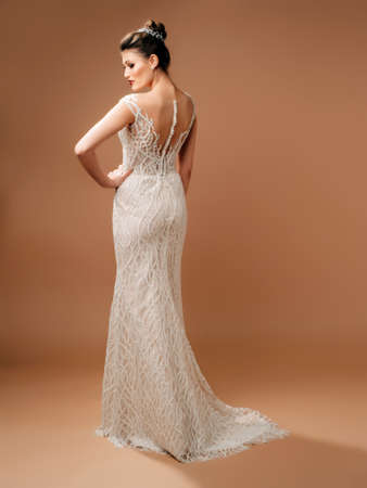 Photo pour Beautiful wedding dress, rear view. Fashionable bridal gown with tender french lace, white fabric-covered buttons. Beautiful shot in studio on beige background. - image libre de droit