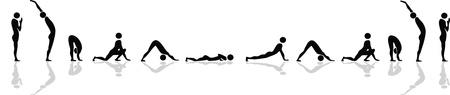 Ilustración de Yoga position for sun salutation - Imagen libre de derechos