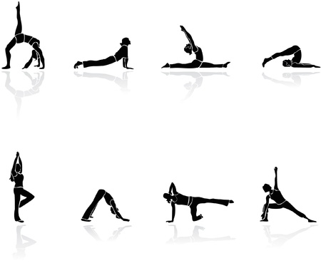 Yoga siluette vector and gym