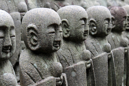 The statues of Buddha Jizo, that found in many temples in Japan. Taken at Hase-dera temple, Kanagawa - February 2018.