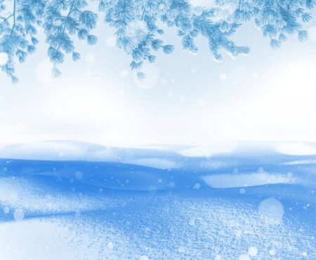 Photo pour Winter bright background. Christmas landscape with snowdrifts and pine branches in the frost. - image libre de droit